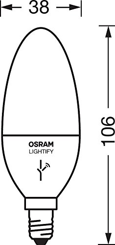 Osram Lightify Classic B LED Glühlampe Kerzenform Tunable White, 6 Watt, E14, matt, Dimmbar, Warmweiß, Kompatibel mit Alexa 4052899947214 - 5
