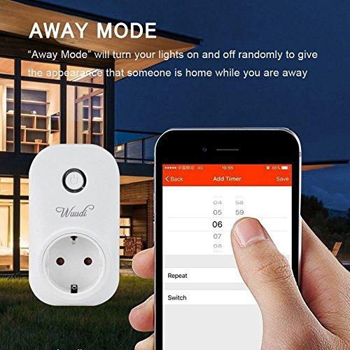 intelligente WLAN Steckdose , Wuudi Wifi Fernbedienung Steckdose (Funktioniert mit Android und iOS-Anwendung, Inalambtrico Control),  weiß - 5