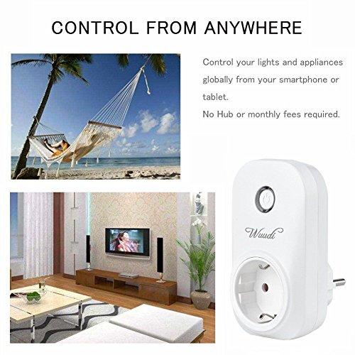 intelligente WLAN Steckdose , Wuudi Wifi Fernbedienung Steckdose (Funktioniert mit Android und iOS-Anwendung, Inalambtrico Control),  weiß - 6