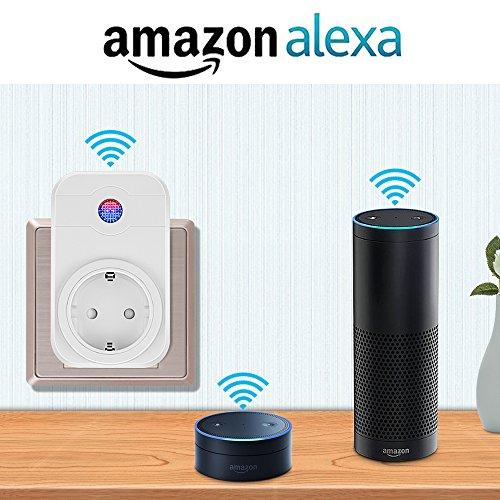 Smart Steckdose,Mopoin Intelligente WLAN Steckdose Smart Wifi Steckdosen inkl Zeitsteuerung Energiesparfunktion,App Fernbedienung für IOS und Android mit Amazon Alexa (Echo und Echo Dot) - 3