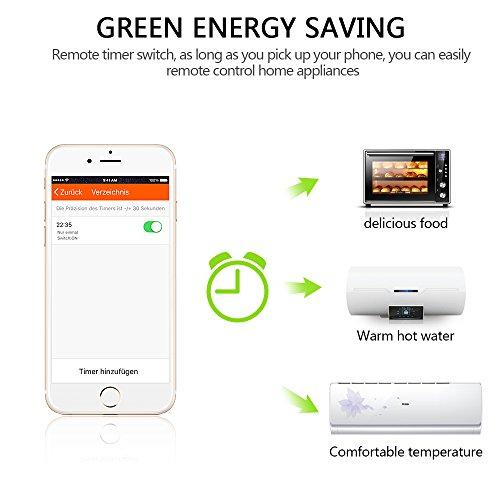 Smart Steckdose,Mopoin Intelligente WLAN Steckdose Smart Wifi Steckdosen inkl Zeitsteuerung Energiesparfunktion,App Fernbedienung für IOS und Android mit Amazon Alexa (Echo und Echo Dot) - 4