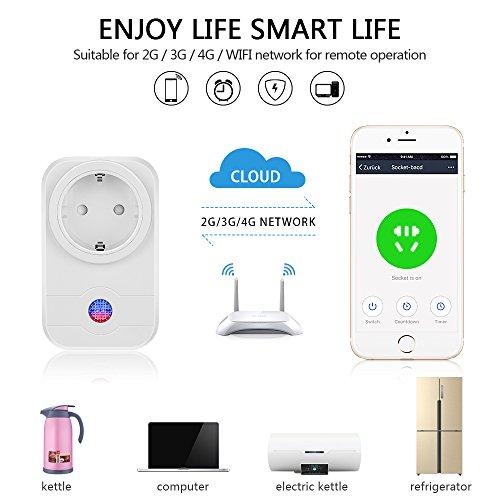 Smart Steckdose,Mopoin Intelligente WLAN Steckdose Smart Wifi Steckdosen inkl Zeitsteuerung Energiesparfunktion,App Fernbedienung für IOS und Android mit Amazon Alexa (Echo und Echo Dot) - 5