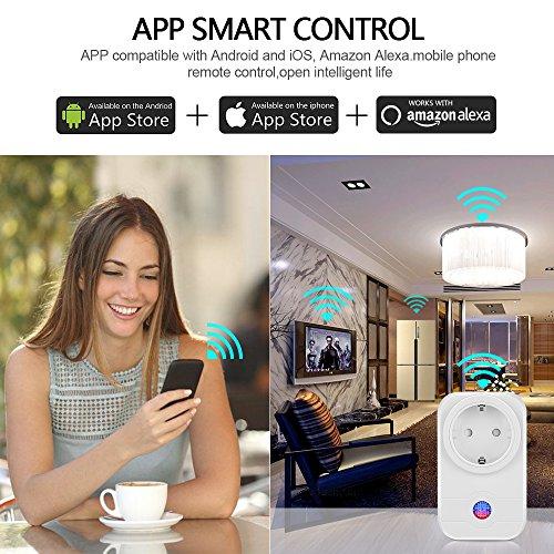 Smart Steckdose,Mopoin Intelligente WLAN Steckdose Smart Wifi Steckdosen inkl Zeitsteuerung Energiesparfunktion,App Fernbedienung für IOS und Android mit Amazon Alexa (Echo und Echo Dot) - 6
