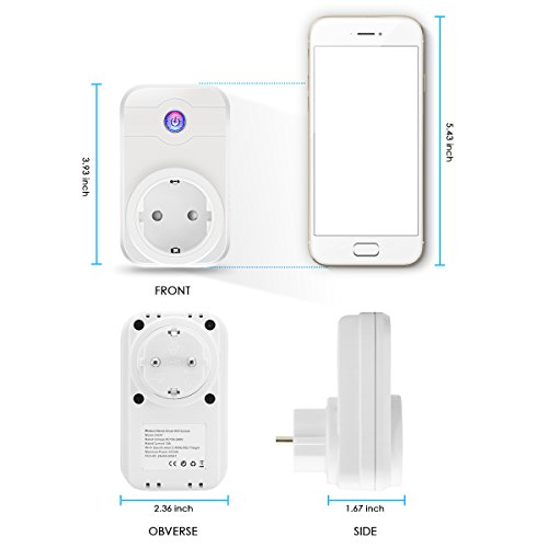 Wifi Steckdose, ELEGIANT Smart Wifi WLAN Home Steckdose intelligente Funksteckdose Wifi Adapter + eFamilyCloud App Switch mit Timing Funktion Unterstützt Amazon Alexa (Echo, Echo Dot) - 2