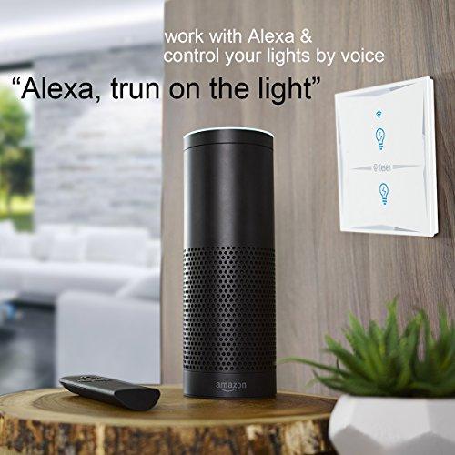 Wlan Alexa Lichtschalter, FEYG Wifi Smart Lichtschalter arbeitet mit Amazon Alexa und Google Home, gehärtetes Glas Touchscreen-schalter, Timing-Funktion, Überlastungsschutz, kein Hub erforderl - 2