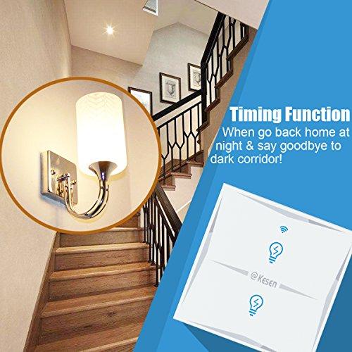 Wlan Alexa Lichtschalter, FEYG Wifi Smart Lichtschalter arbeitet mit Amazon Alexa und Google Home, gehärtetes Glas Touchscreen-schalter, Timing-Funktion, Überlastungsschutz, kein Hub erforderl - 3