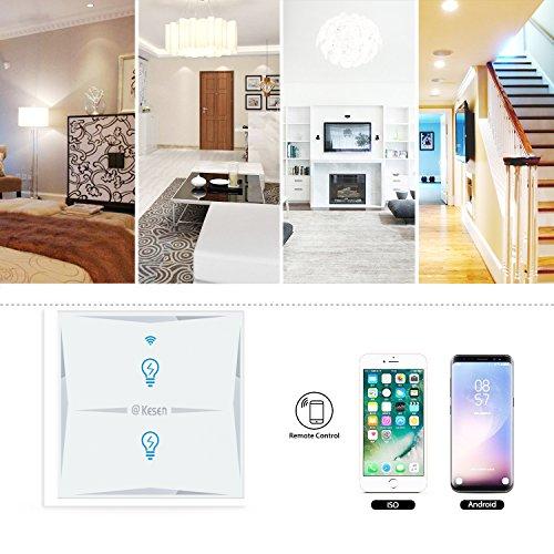 Wlan Alexa Lichtschalter, FEYG Wifi Smart Lichtschalter arbeitet mit Amazon Alexa und Google Home, gehärtetes Glas Touchscreen-schalter, Timing-Funktion, Überlastungsschutz, kein Hub erforderl - 5