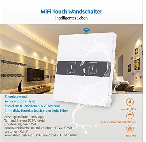 BAYTTER Lichtschalter 2-Gang Wall Light Switch WIFI Fernbedienung Smart Control mit Glas Touchscreen, arbeitet mit Amazon Alexa Echo und unterstützt Android and IOS APP - 2