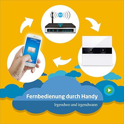 BAYTTER Lichtschalter 2-Gang Wall Light Switch WIFI Fernbedienung Smart Control mit Glas Touchscreen, arbeitet mit Amazon Alexa Echo und unterstützt Android and IOS APP - 5