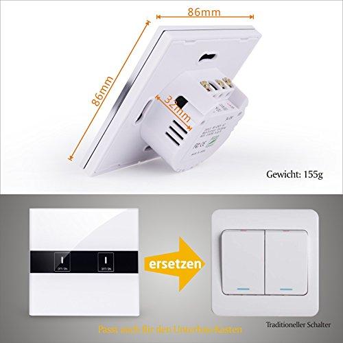 BAYTTER Lichtschalter 2-Gang Wall Light Switch WIFI Fernbedienung Smart Control mit Glas Touchscreen, arbeitet mit Amazon Alexa Echo und unterstützt Android and IOS APP - 7
