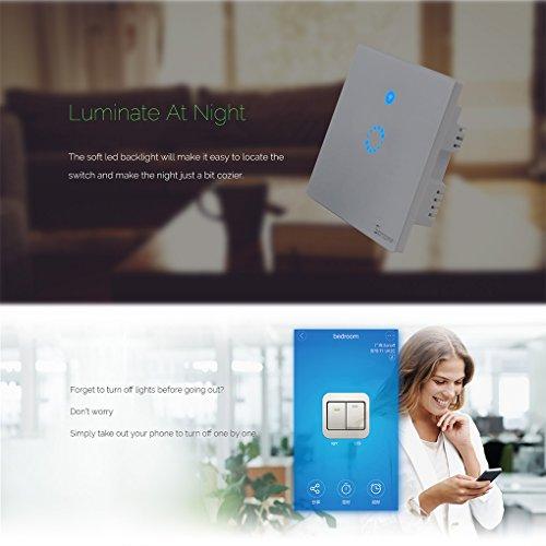 Sonoff Touch Lichtschalter für alexa,WiFi Touch Panel Schalter touch glas lichtschalter 1 gang Touch LED Lichtschalter Arbeit Mit Google Nest(Verbesserte Version) 1 weg - 3