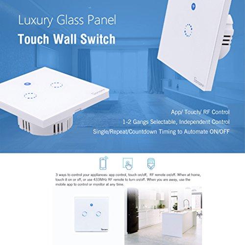 Sonoff Touch Lichtschalter für alexa,WiFi Touch Panel Schalter touch glas lichtschalter 1 gang Touch LED Lichtschalter Arbeit Mit Google Nest(Verbesserte Version) 1 weg - 4