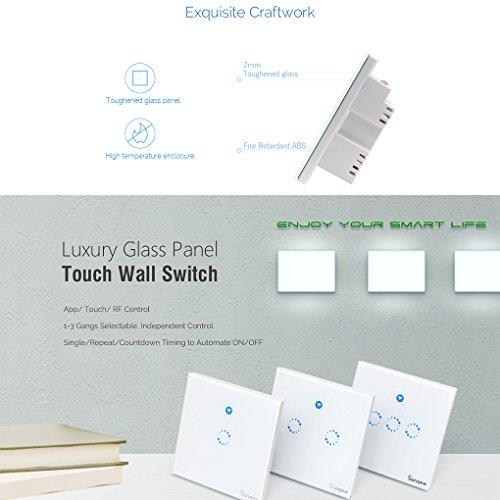 Sonoff Touch Lichtschalter für alexa,WiFi Touch Panel Schalter touch glas lichtschalter 1 gang Touch LED Lichtschalter Arbeit Mit Google Nest(Verbesserte Version) 1 weg - 5
