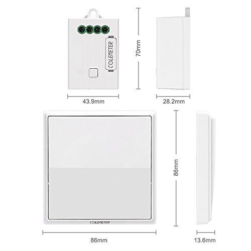 Lichtschalter Funkschalter Set, COLEMETER Funk Schalter Wasserdicht Funk Wandschalter 160M Reichweite Drahtloser kinetische Energie Schalter mit Empfänger keine Leitungsverlegung für Eletrogerät 50 Jahre Benutzbar - 2