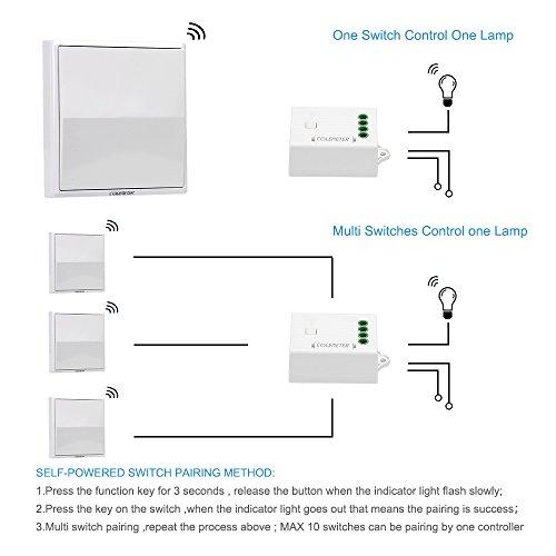 Lichtschalter Funkschalter Set, COLEMETER Funk Schalter Wasserdicht Funk Wandschalter 160M Reichweite Drahtloser kinetische Energie Schalter mit Empfänger keine Leitungsverlegung für Eletrogerät 50 Jahre Benutzbar - 4