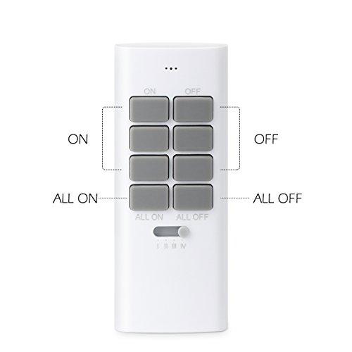 Lunvon 12-Kanal Funksteckdosen Set aus 3 x Funksteckdose mit 1 x Fernbedienung, Funkschalt Set Selbstlern-Funktion, 1000 Watt für Weihnachtsschmuck, Licht, Haushaltsgeräte, Reichweite 30m, Weiß - 2