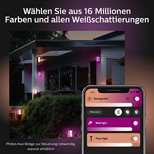 Philips Hue Impress LED Wandleuchte Breit Outdoor - 4
