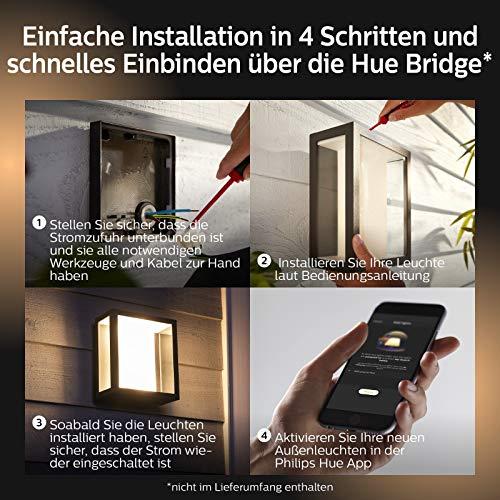 Philips Hue Impress LED Wandleuchte Breit Outdoor - 7