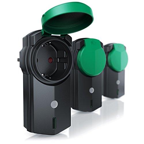 CSL - Outdoor Funksteckdosen Set 3+1 | für den Außenbereich | 3x Funkschalter-Steckdosen inkl. Fernbedieung | LED-Statusanzeige | Kindersicherungsschutz | 3680W | IPX4 | schwarz/grün (matt) - 2
