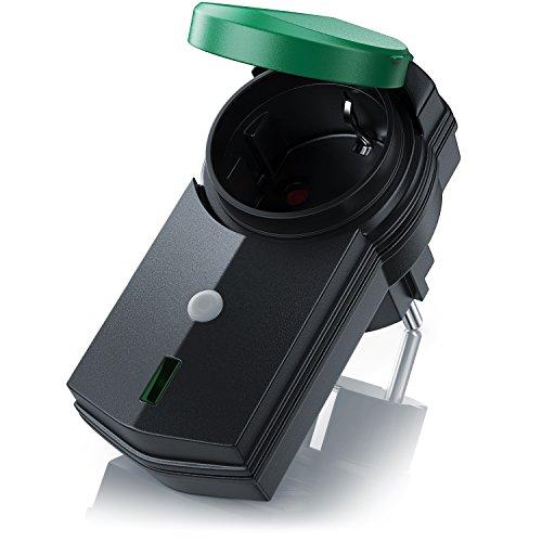 CSL - Outdoor Funksteckdosen Set 3+1 | für den Außenbereich | 3x Funkschalter-Steckdosen inkl. Fernbedieung | LED-Statusanzeige | Kindersicherungsschutz | 3680W | IPX4 | schwarz/grün (matt) - 3