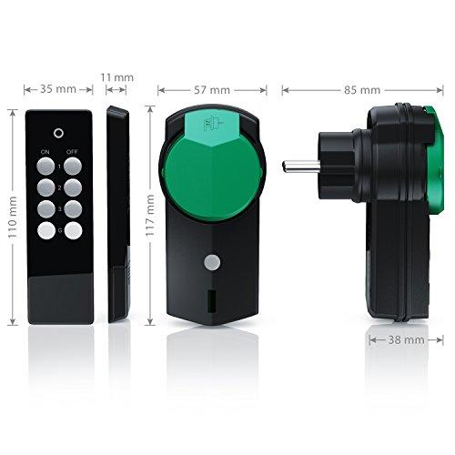 CSL - Outdoor Funksteckdosen Set 3+1 | für den Außenbereich | 3x Funkschalter-Steckdosen inkl. Fernbedieung | LED-Statusanzeige | Kindersicherungsschutz | 3680W | IPX4 | schwarz/grün (matt) - 5