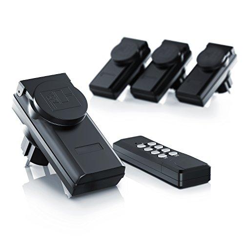 Arendo - Outdoor Funksteckdosen-Set (4+1) für den Außenbereich (Outdoor)| 4x Funkschalter-Steckdosenset | 1x Fernbedienung | Kindersicherungsschutz | hohe Funkreichweite von ca. 25m | IP44-Norm für Außenbereich | schwarz - 2
