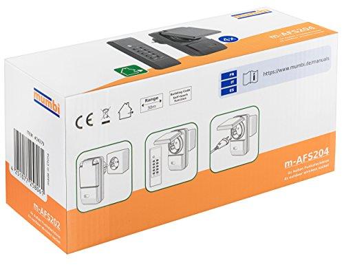 mumbi 4er Set Outdoor Funksteckdosen - 4 x Funksteckdose für Aussen + 1 x Fernbedienung - Plug & Play - 1100 Watt - 2
