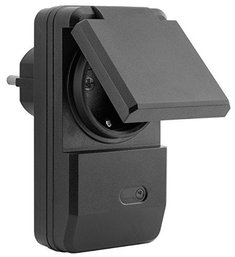 mumbi 4er Set Outdoor Funksteckdosen - 4 x Funksteckdose für Aussen + 1 x Fernbedienung - Plug & Play - 1100 Watt - 4
