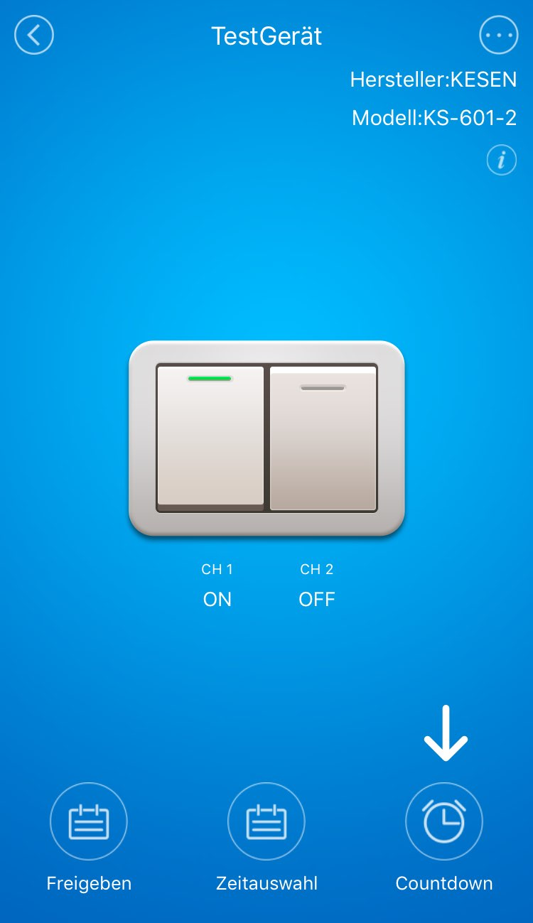 WLAN Lichtschalter Countdown Funktion