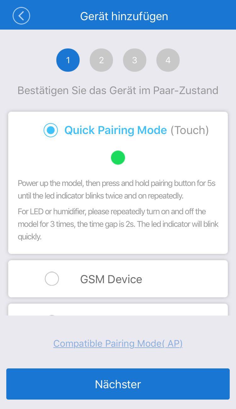 """Wlan Lichtschalter über """"Quick Pairing Mode"""" mit der eWeLink verbinden."""